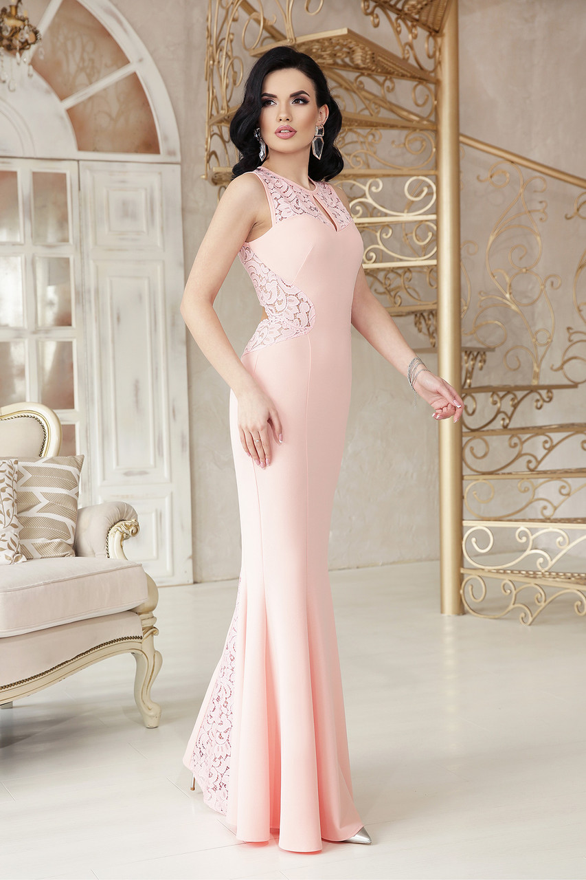 Выпускное платье в пол вечернее облегающее персиковое