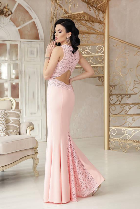 Выпускное платье в пол вечернее облегающее персиковое, фото 2