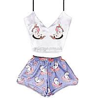 Пижама женская Единорог шелковая