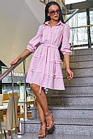 Комфортное Платье на Лето из Хлопка с Рюшами Розовое в Полоску S-XL