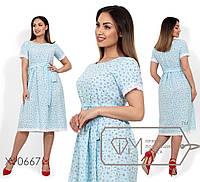 Платье-миди с цветочным принтом, круглым вырезом, завышенной талией, кружевной отделкой на коротких рукавах и подоле X10667
