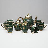 """Чайный набор """"Орфей"""" 9 предметов Зеленый , 0,5 л чайник, 0,5 л сахарница, 0,2 л чашка"""