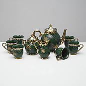 """Чайний набір """"Орфей"""" 9 предметів Зелений , 0,5 л чайник, 0,5 л цукорниця, 0,2 л чашка"""