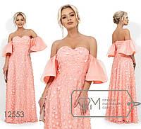 Вечернее платье в пол с декольте-сердце, 3D цветами на сетке и рукавами-колокол 12553