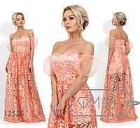 Платье в пол из вышивки на сетке с декольте-сердце, рукавами-фонарик и подкладом из мини-юбки 12555