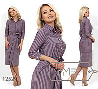 Платье-рубашка прямого кроя, под пояс, с рукавами 7/8 12529