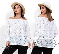 Блуза прямого кроя с вырезом анжелика и рукавами фонарик на резинке (просвечивается) X10687