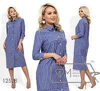 Платье-рубашка прямого кроя, под пояс, с рукавами 7/8 12528