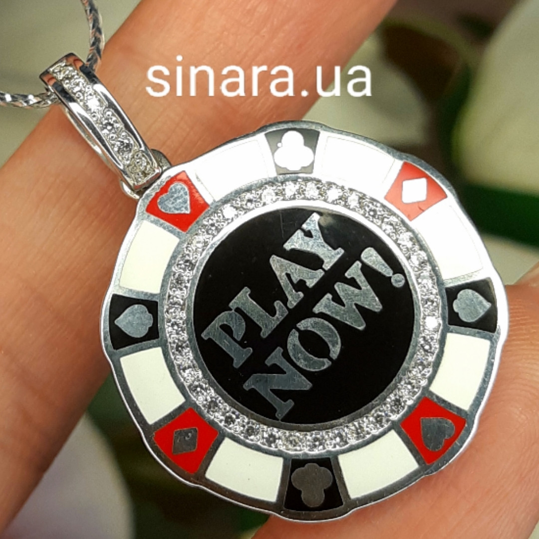 Счастливая покерная фишка кулон серебряный - Фишка для покера родированное серебро с эмалью - Казино кулон