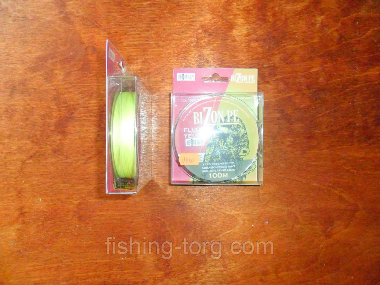 Шнур плетёный bizon pe fluoro yellow  0.14 мм