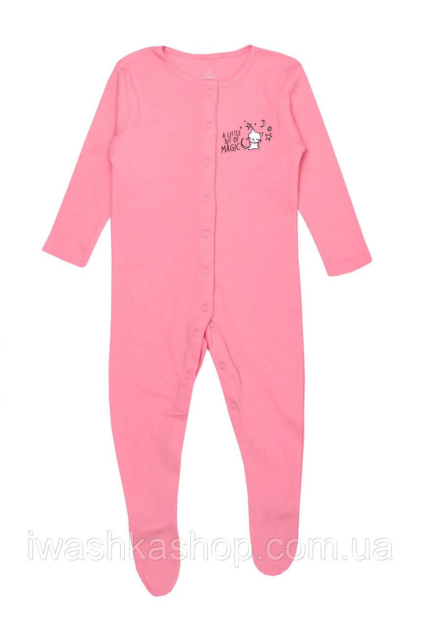 Розовый человечек, пижама слип на девочку 6 - 9 месяцев, р. 74, Early Days by Primark