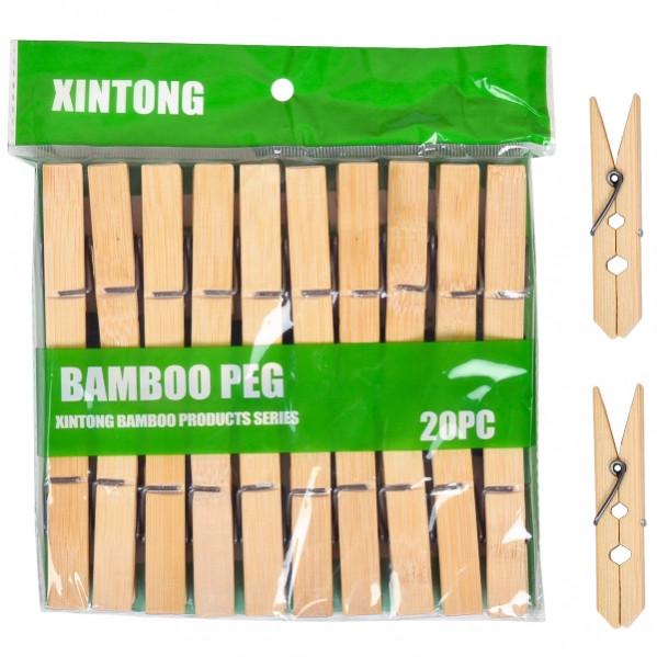 Прищепки для белья «Бамбук» большие 20 шт, 7 см