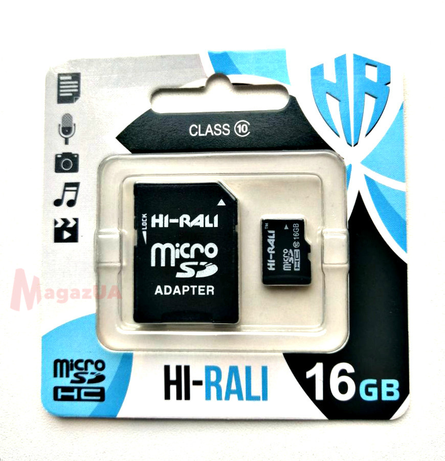 Карта памяти Hi-Rali microSDHC, 16Gb, Class10, SD адаптер
