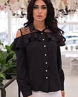 Женская блузка с верхней баской и открытыми плечами
