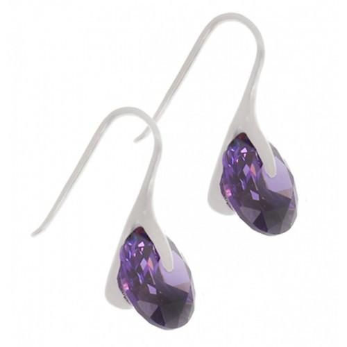 Серьги из стали с фиолетовыми кристаллами Swarovski 102113