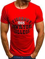 Мужская футболка красная с принтом J.Style 5029  (модная, стильная, молодежная, 2018)