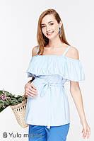 Стильная блузка для беременных и кормления BRENDA BL-29.023, светло-голубая., фото 1
