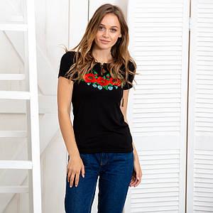 Женская футболка вышиванка Маки черная