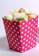Коробочка для попкорна розовая в горошек