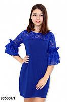 Платье нарядное с гипюровыми вставками,синее 42,44,46,48