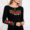 Женская вышиванка трикотажная Маки черная, фото 4