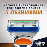 Gilette Fusion 8 шт. в упаковке, Германия, сменные кассеты для бритья, фото 7
