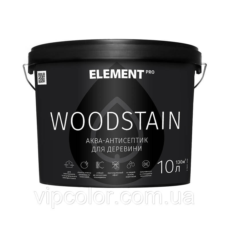 ELEMENT PRO WOODSTAIN, 10 л атмосферостойкий антисептик для дерева ТИК