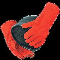 Перчатки кожаные (спилок) с крагой на подкладке