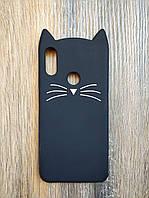 Объемный 3d силиконовый чехол для Xiaomi Redmi Note 7 Усатый кот черный