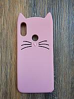 Объемный 3d чехол для Xiaomi Redmi Note 7 Усатый кот розовый