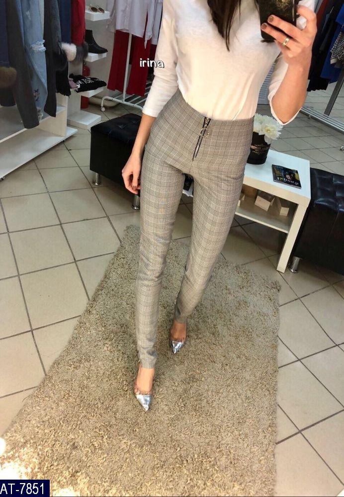 Женские брюки в клетку с высокой посадкой,женские штаны