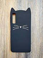 Объемный 3d силиконовый чехол для Samsung A7 2018 A750 Усатый кот черный