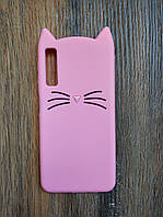 Объемный 3d чехол для Samsung A7 2018 A750 Усатый кот розовый