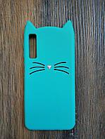 Объемный 3d силиконовый чехол для Samsung A7 2018 A750 Усатый кот зеленый
