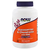 Глюкозамин и Хондроитин с МСМ, Glucosamine & Chondroitin & MSM, Now Foods, 180 капсул