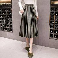Женская плиссированная длинная юбка бархатная с подкладкой зеленая , фото 1