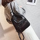Рюкзак классический PU кожзам женский чёрный с двумя кармашками, фото 2
