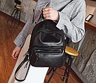 Рюкзак классический PU кожзам женский чёрный с двумя кармашками, фото 4