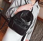 Рюкзак классический PU кожзам женский чёрный с двумя кармашками, фото 5
