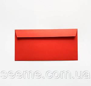 Конверт 220x110 мм, цвет красный, БЕЗ клеевой основы