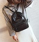 Рюкзак классический PU кожзам женский чёрный с двумя кармашками, фото 6