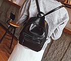 Рюкзак классический PU кожзам женский чёрный с двумя кармашками, фото 7