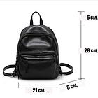 Рюкзак классический PU кожзам женский чёрный с двумя кармашками, фото 8