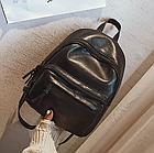 Рюкзак классический PU кожзам женский чёрный с двумя кармашками, фото 10