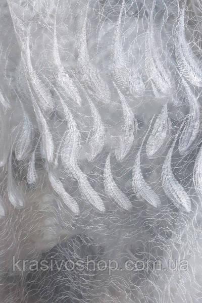 Ткань для гардин и тюля паутинка Перо кристалон белый