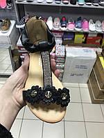 Детские черные босоножки для девочек оптом Размеры 34,36, фото 1