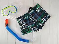 Купальные плавки-шорты черно-зеленые с принтом для подростка 38-46р