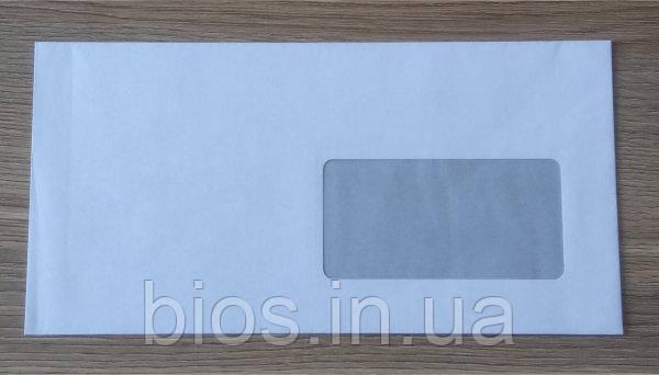 Конверт Е65 (0+0) СКЛпрозоре нижнє вікно