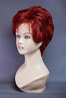Натуральный парик №1, цвет винно красный