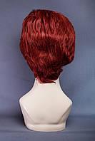 Натуральный парик №1,цвет винно красный